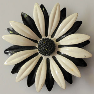 big vintage white black enamel flower brooch pin